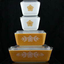 Pyrex BUTTERFLY GOLD Refrigerator Dish COMPLETE Set 501 502 503 with Rib Lids