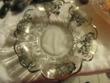 "Vintage grapevine sterling silver overlay ruffle edge glass bowl 12"" HYM"