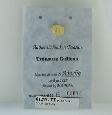 Authentic Sunken Treasure Galleon Atocha Silver Gold Overlay Tie Tacks w/ Cert