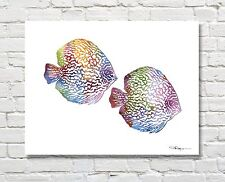 Discus Tropical Fish Abstract Watercolor Painting 11 x 14 Art Print by DJR