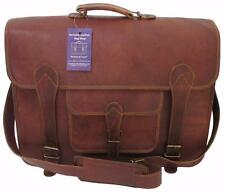"16""x12x6 Mens Vtg Genuine Leather Messenger Briefcase Laptop Satchel Carry Bag"
