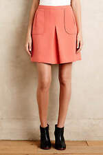 NWT ANTHROPOLOGIE Cheri Mini Skirt A-line Skater Pockets Pink Coral Sz 4 $98