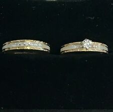 VINTAGE 14K WHITE AND YELLOW GOLD DIAMOND SET OF WEDDING BAND FROM 80,s