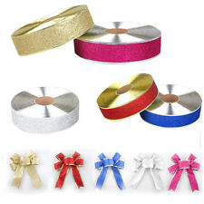 Wire Edge Glitter Silvery Ribbon Christmas Wrapping Wedding Party Decor Gold