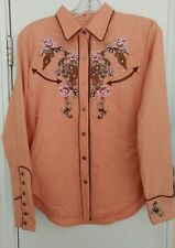 NEW Women's Scully Peach Embroidered Rhinestone Snap Western Shirt Size LARGE