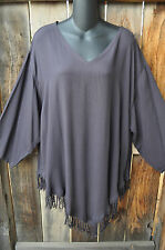 """ART TO WEAR MISSION CANYON FRINGED RUBY TOP IN SOLID ONYX GRAY, OS+,56""""B"""