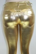 ROBIN'S JEAN NEW WOMEN'S LYCRA LEGGIN SLIM SILHOUETTE GOLD 100% AUTHENTIC SZ XS