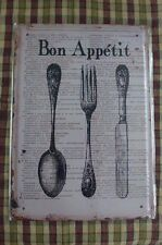 Bon Appetit Metal Sign Painted Poster Wall Decor Art Home Shop Pub Club Canteen