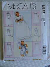 McCALL'S M6221 INFANT BABIES CHRISTENING BAPTISM WARDROBE PATTERN NB-S-M-L