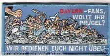 """Anti Bayern Aufnäher """"Wollt Ihr Prügel"""" Kutte Weste Fan Patch Block Kurve neu"""