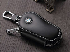 Black Genuine Leather Car Key Holder Keychain Ring Case Bag for BMW