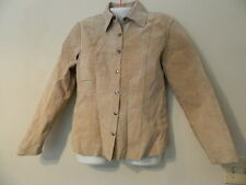 Womens Suede Leather Shirt jacket Small Beige
