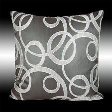"""ABSTRACT ELEGANT GRAY SILVER POLYESTER DECO THROW PILLOW CASE CUSHION COVER 17"""""""