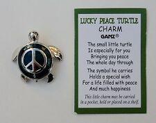 h LUCKY PEACE SYMBOL blue sea TURTLE CHARM pocket token Good luck figurine ganz