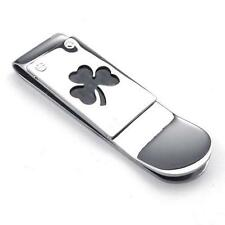 Personalized Silver Stainless Steel Carbon Fiber Lucky Clover Men Money Clip