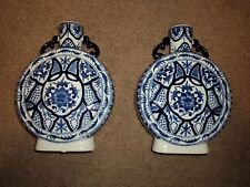 VINTAGE PAIR OF BEAUTIFUL MATCHING BLUE & WHITE FLORAL DESIGN VASES