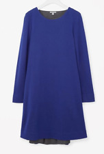 COS A-LINE DRESS SIZE MEDIUM LONG SLEEVES COBALT BLUE NWT