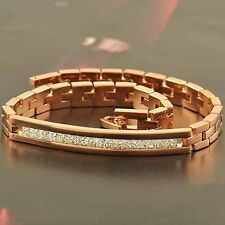 Hot Shiny Charm 14K Rose Gold Filled Cubic Zirconia Mens/Unisex Chain Bracelet