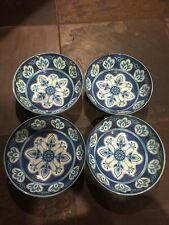 Il Mulino Set Of 4 Spanish Medallion Blue White 8 Inch Wide Bowls Melamine NWT