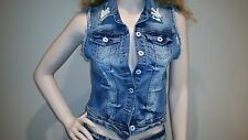 New Women's Girl's Blue Jeans Denim waistcoat Jacket With Rhinestones And Pearls