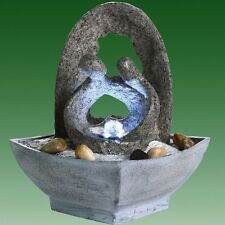 Couple with Grey Arch Lit Indoor Water Feature
