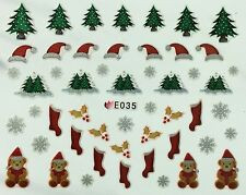 Nail Art 3D Decal Stickers Christmas Trees Santa Hat Teddy Bears Stockings E035