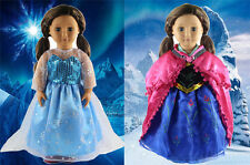 """2 Set Anna's+Elsa's Dress Frozen Doll Clothes for 18"""" American Girl Doll Outfit"""