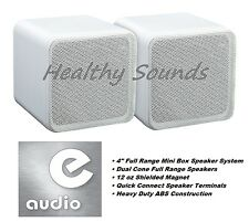 "e-audio White 4"" Full Range Dual Cone Mini Box Speaker (8 Ohms 80 W) #B405A"