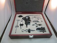AutoTrader.com advertising bar set.Corkscrew, many other pieces w/ wood case