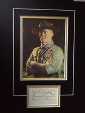 ROBERT BADEN POWELL - ARMY OFFICER & BOY SCOUT LEADER - SIGNED PHOTO DISPLAY