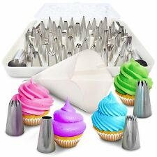 BakeLux Cake Decorating Tips Set - 56 Piece Professional Kit With 18-Inch Reu...