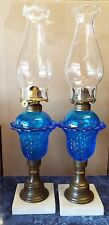 Pair of Antique BLUE Glass ACANTHUS LEAF Pattern White Marble WHALE OIL LAMPS