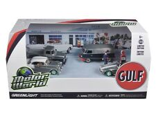 Chase MOTOR WORLD DIORAMA GULF OIL VINTAGE GAS STATION SET 1/64 GREENLIGHT 58035