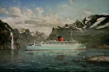 "RMS Caronia Cruise Ship Robert Lloyd Marine Painting Art Print - 14"" Print"