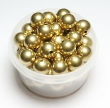 12 MM Solid Brass Round Seamless Hollow Beads Hole 2.0 MM Pkg. 30  Natural, USA