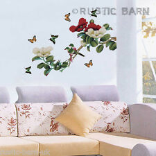 Home Decor Vinyl Wall Sticker Art Decal Red & White Flowers Butterfly & Bird