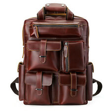 Men's Genuine Leather Backpack Laptop Bag Large Hiking Travel Camping Carry On