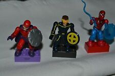 MARVEL MEGA BLOKS SPIDERMAN , MAGNETO , CYCLOPS LOOSE FIGURES