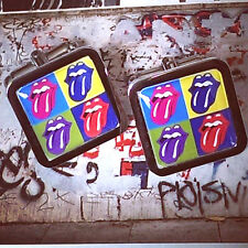 Unique! POP ART TONGUES CUFFLINKS chrome ROLLING STONES cool GIFT novelty
