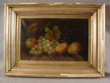 Antique 19C Edwin Steele Still Life O/C Fruit Painting Shadow Box Frame
