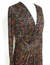 ISSA London Silk black abstract print faux wrap dress uk12