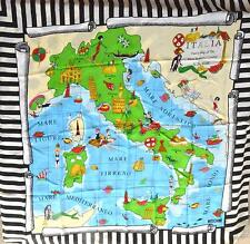100% Authentic MOSCHINO CHEAP AND CHIC Map Of Italy 100% Silk Scarf EUC SALE!
