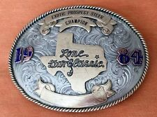 VINTAGE SILVER 1984 TEXAS *LONE STAR CLASSIC* STEER CHAMPION TROPHY BELT BUCKLE