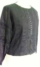 short BUTTONED top  lace detail Size 10 12 14 BLACK Hippy Hippie goth Boho Gypsy