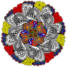 Ruffled Feathers Mandala Large 22x22 Inch Coloring Poster