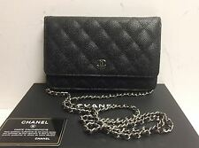 CHANEL Caviar Quilted Leather Black WOC Chain Flap Wallet Clutch Bag w/Receipt
