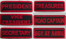 6 PC -  MOTORCYCLE CLUB RANK PATCHES - RED ON BLACK