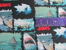 JAWS SHARK MOVIE GREAT WHITE BITTEN PATCHES  on COTTON FABRIC Priced By The Yard