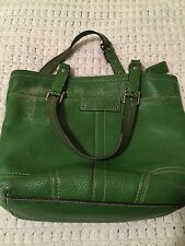 Vintage Coach Waverly Green Leather Satchel Tote Bag Purse