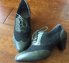 green Women's Heels Oxfords Retro Wing Tip Lace Up leather /fabric 9 Soft Style